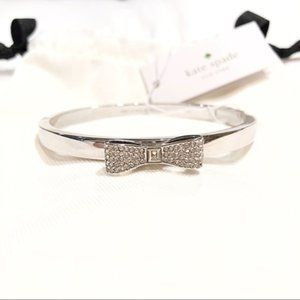 Kate Spade Pave Bow Bangle Bracelet Silver